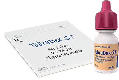 Prescribe 1 drop of TOBRADEX ST every 4 to 6 hours.